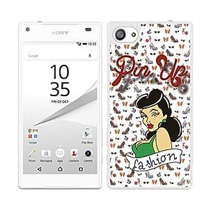 FUNDA CARCASA PARA Sony Xperia Z5 Compact DISEÑO PIN UP 6 BORDE BLANCO