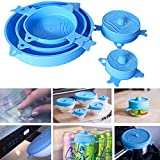 5PCS Silicone Stretch Seal Lids Reusable Durable Flexible Various Sizes Food Saver Wrap Cover Storage Stretch Lid for Plate Dishes Pans Bowl Containers (Blue)
