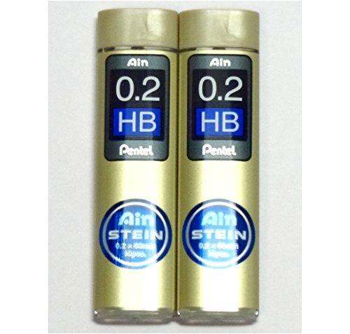 Pentel Ain Pencil Leads 0.2mm HB, 10 Leads X 2 Pack/total 20 Leads (Japan Import) [Komainu-Dou Original Package]