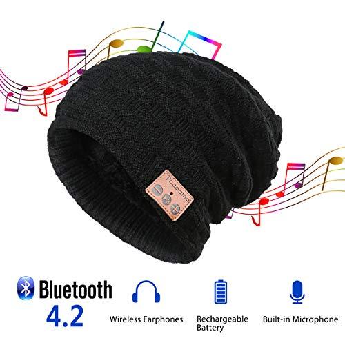 Pococina Upgraded 4.2 Bluetooth Beanie Music Hat Winter Knit Hat Cap Wireless Headphone Musical Speaker Beanie Hat as Christmas Birthday Gifts for Men Women Teen Girls Boys, Built-in Mic - 028 Black