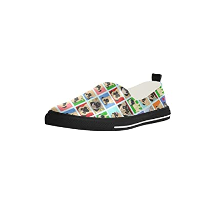 Cartoon Pugs Background Slip-on Microfiber Rubber Out-sole EVA Insole Shoes For Womens