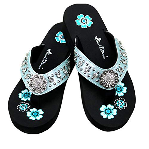 Montana West Flip Flop Sandals Hand Beaded Embroidered Studded (10B(M), Bk Turq Concho) -