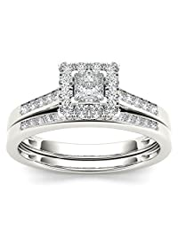 1/2 Carat Natural Princess-Cut Diamond 10K White Gold Halo Engagement Ring Set (H-I,I2)