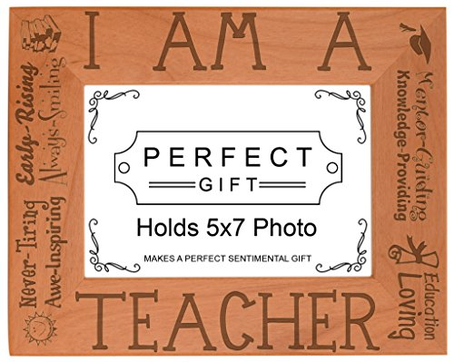 ThisWear Teacher Appreciation Gift I am a Teacher Poem Natural Wood Engraved 5x7 Landscape Picture Frame Wood]()