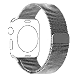 Apple Watch Band, BRG Fully Magnetic Closure Clasp Mesh Loop Milanese Stainless Steel iWatch Band Replacement Bracelet Strap for Apple Watch Series 1 Series 2 Sport&Edition 38mm Silver