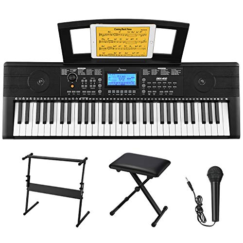 Donner DEK-610 61 Keys Electronic Keyboard Portable Electric Music Piano with Full-Size Keys for Beginners
