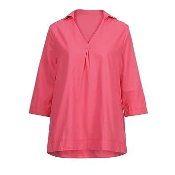 Mujer blusa elegantes,Sonnena ❤ Blusas de mujer de color sólido de otoño Casual