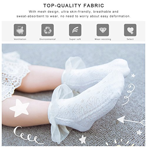 Vbiger Girls Cute Eyelet Frilly Princess Lace Ruffles Socks Toddler/ Little Girls Ankle Socks, 5 Pairs£¨5-7 years) by VBIGER (Image #2)