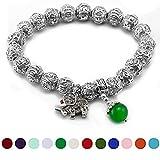 May Garnet Birthstone Om Mani Padme Hum Prayer Beads Bracelet, Cat Eye Jewels Tibetan Silver 10mm Beads Birthstone with Lucky Elephant Charms Stretch wristband H22