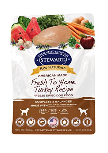Picture of Stewart Raw Naturals Freeze Dried Dog Food Grain Free Made in USA with Turkey, Fruits, & Vegetables for Fresh To Home All Natural Recipe, 24 oz