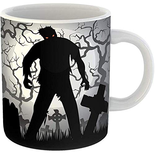 Funny Coffee Tea Mug Gift 11 Ounces Funny Ceramic Monster Halloween Zombie Tree Tombstones and the Moon Cemetery Silhouette Gifts For Family Friends Coworkers Boss Mug -