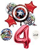4th Birthday Red Number Captain America Shield Balloons Bouquet Bundle