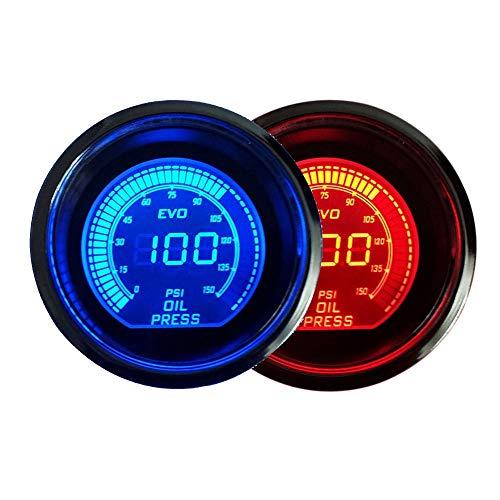 Carvicto - DRAGON GAUGE 52mm EVO Oil Pressure Gauge Red&Blue Dual Led Display With Sensor