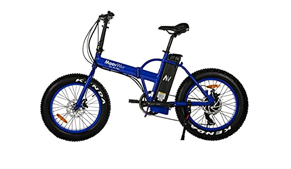 Moovway - Bicicleta fat bike todoterreno eléctrica plegable, color azul: Amazon.es: Deportes y aire libre