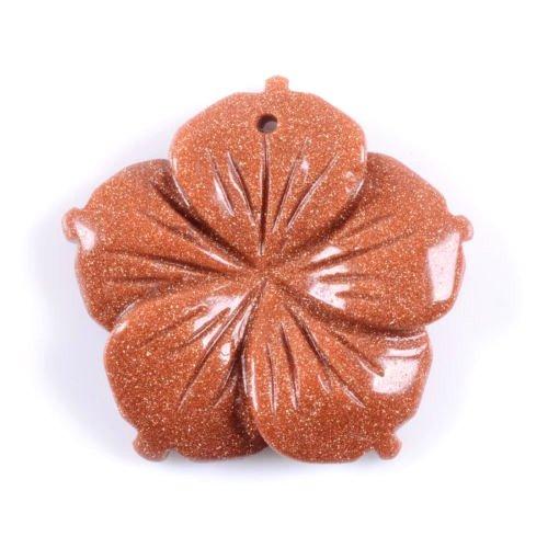 Wholesale 28mm Hand carved gemstone flower pendant bead 5pcs (Gold sandstone)