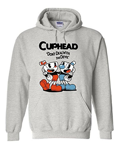 Price comparison product image NoveltyBoy Cuphead Costume Grey Hoodie Cuphead Don't Deal With Devil Coat Long Sleeve Round Collar
