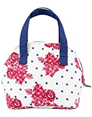 Sheffield Home White And Navy Insulated Zippered Lunch Tote