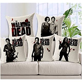 【Bailand】 18 x 18 Inch A set of 5 Vintage Style Cotton Linen Square Throw Pillow Case Decorative Cushion Cover Pillowcase Cushion Case -THE Walking Dead Season Five V - Rick Grimes Daryl Dixon