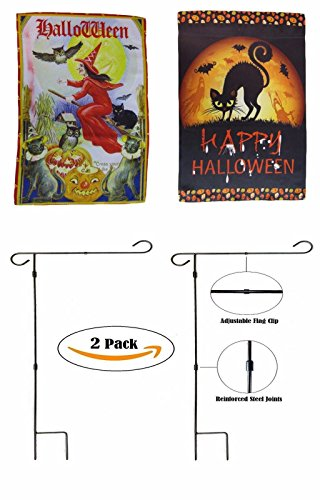 ALBATROS 12 inch x 18 inch Happy Halloween #14 Sleeved with Garden Stand Flag for Home and Parades, Official Party, All Weather Indoors Outdoors ()