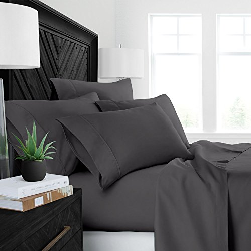 ... Resistant Bedding Lovely. Hotel Quality Luxury 600 Thread Count 4 Piece  100% Cotton Solid Grey Full Size (
