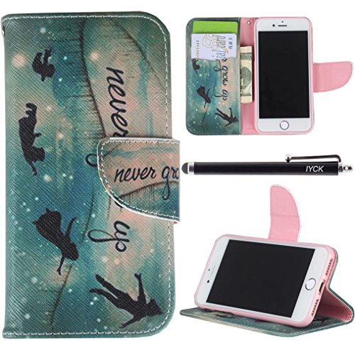 iPhone 7 Case, iPhone 7 Case Wallet, iYCK Premium PU Leather Flip Carrying Magnetic Closure Protective Shell Wallet Case Cover for iPhone 7 4.7inch with Kickstand Stand - Never Grow Up