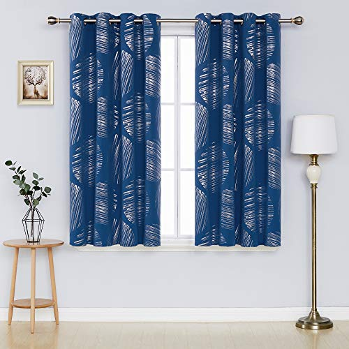 Deconovo Blackout Curtains Decorative Circle Silver Pattern Foil Curtain Thermal Insulated Window Drapes for Kids' Room 52 x 54 Inch Dark Blue 2 Panels
