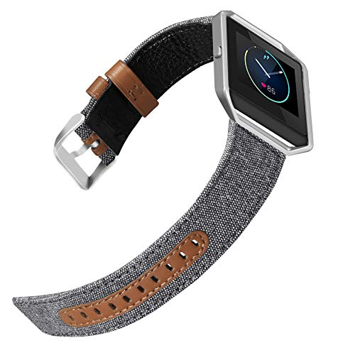 (iHillon Compatible Fitbit Blaze Band with Silver Frame, Elegant Canvas Fabric with Genuine Leather Bands Compatible Fitbit Blaze Smart Watch, Grey, Large)