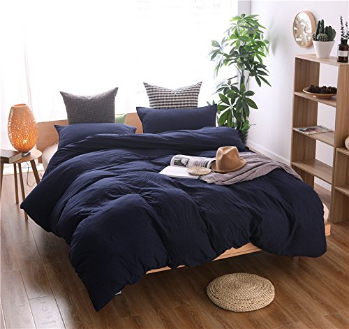 Heaven Home textile100% Washed Cotton Duvet Cover Soft and Comfortable Bedding 2-Pieces (Navy Twin) by Heaven home textile (Image #4)