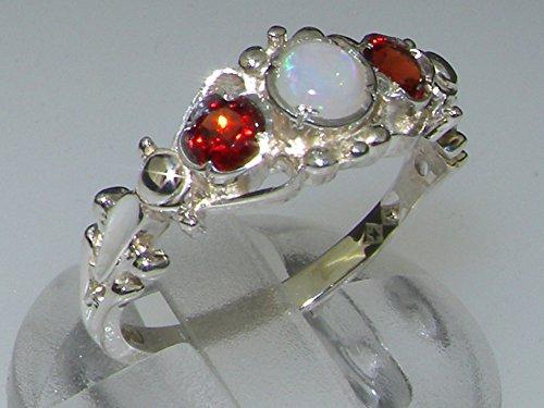 Haute Qualité Bague pour Femme en Argent fin 925/1000 sertie d'Opale et Grenat - Tailles 47 à 68 disponibles