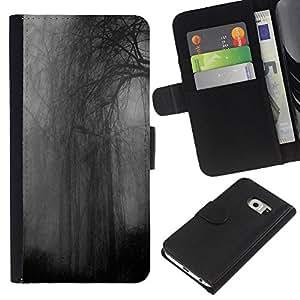 A-type (Night Grey Dark Somber Rainy) Colorida Impresión Funda Cuero Monedero Caja Bolsa Cubierta Caja Piel Card Slots Para Samsung Galaxy S6 EDGE (NOT S6)