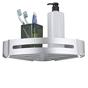 BESy Shower Corner Caddy Bathroom Shower Corner Shelf with Two Hooks, Self Adhesive with Glue or Wall Mount with Screws,Heavy Duty Aluminum 1 tier Storage Shelves Triangle Baskets,Dull Polished Silver