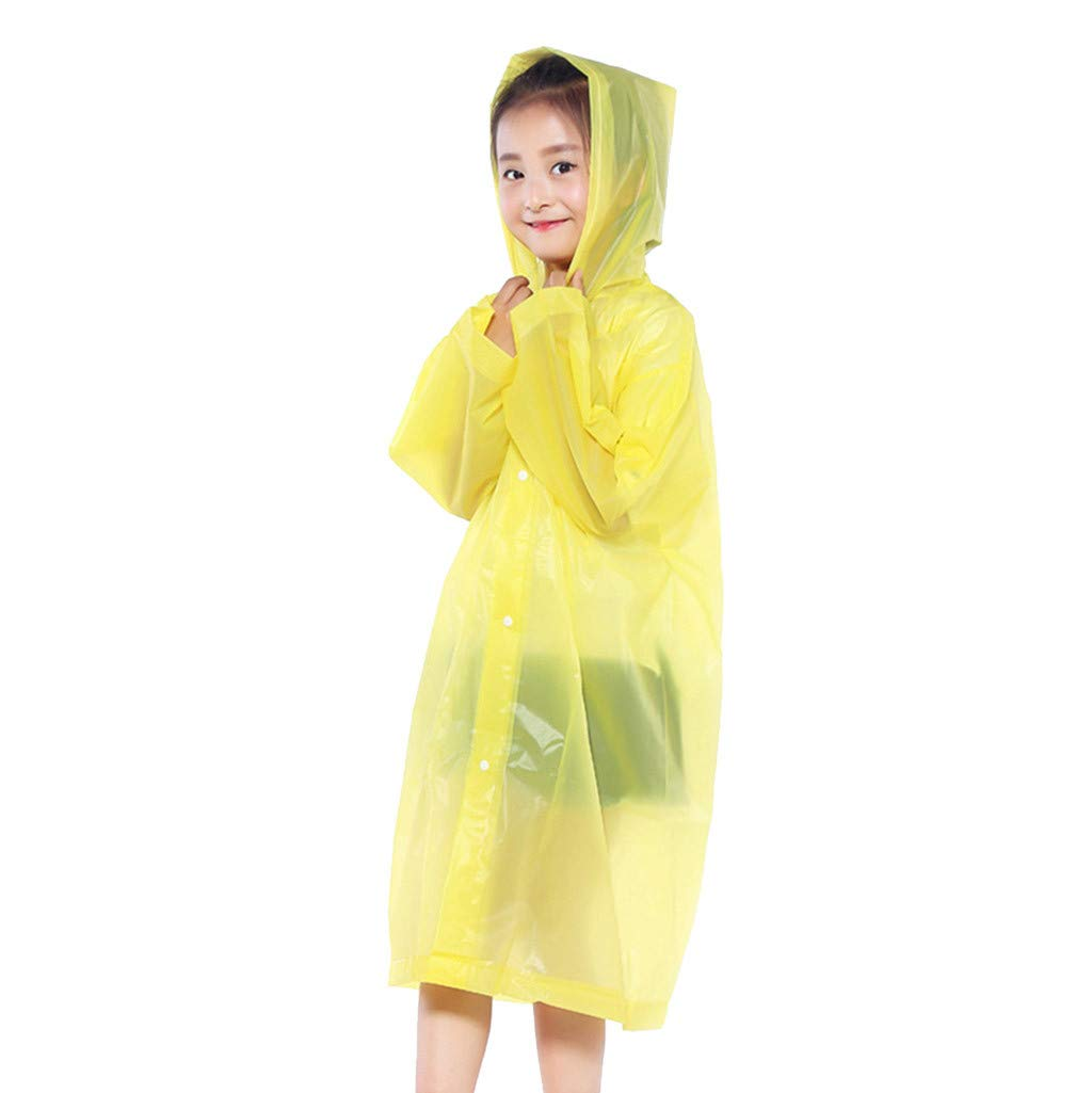 Staron Children's Raincoat Conjoined Transparent Portable Rain Poncho Reusable Raincoat with Hoods and Sleeves for Outdoor Activities (yellow)