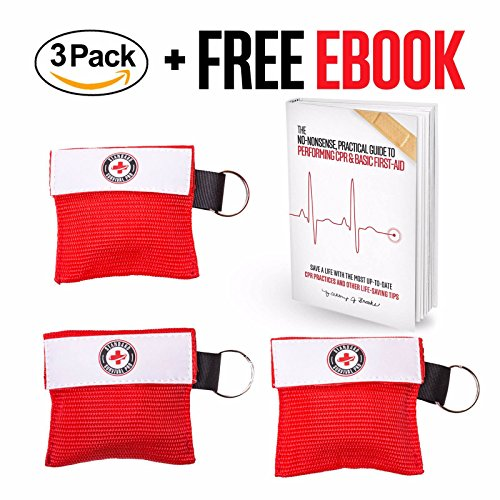 Triples Standard Chain (The #1 CPR Keychain Kit + Free CPR & First-Aid eBook! With Gloves and One-Way Face Shield Mask (3 pack), Highly Durable, Portable and Effective! Standard Survival Pro (Red), One)
