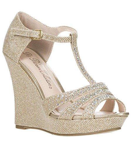Deblossom Womens Dressy Glitter Strass T Cinghia Piattaforma Zeppa Sandalo Aalle-2 Champagne