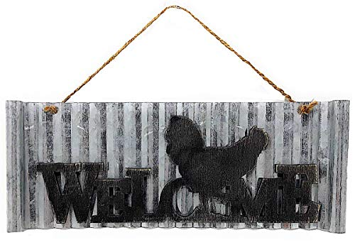 """S.T.C. Welcome Cutout Wood On Metal Home Business Sign for Wall Front Door Room Decor Indoor Outdoor 14"""" x 5.3"""" (Welcome Rooster)"""