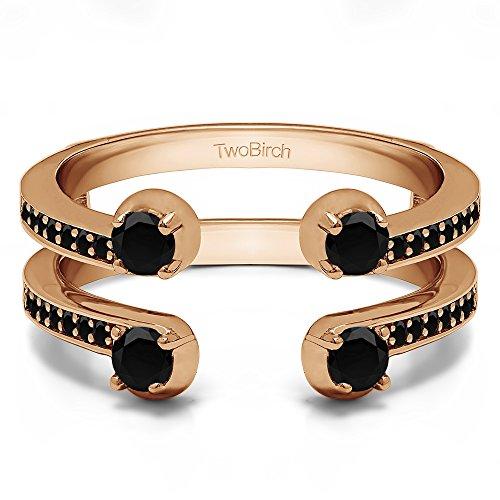14k Rose Gold Two Stone Wedding Ring Guard with Black Diamonds (0.36 ct.) ()