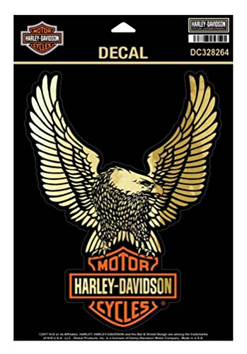 Wings Up (Harley-Davidson Up-Wing Ultra Decal, Gold Finish Lg Size 6 x 7.875 in DC328264)
