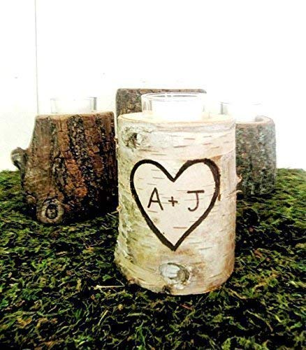 Personalized Initial Birch Rustic Wedding Anniversary Candle -