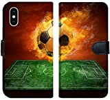 Apple iPhone XS Flip Fabric Wallet Case Image ID: 8174614 Hot Soccer Ball on The Speed in Fires Flame