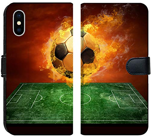 Apple iPhone XS Flip Fabric Wallet Case Image ID: 8174614 Hot Soccer Ball on The Speed in Fires Flame by MSD
