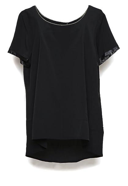 2f5ced2455 Koton Blusa Negra Manga Corta Blusa para Mujer Negro Talla 46 ...