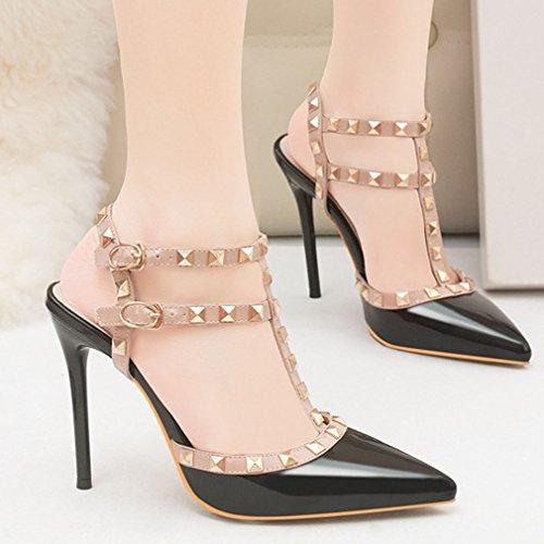 Zapatos Bombas Remache Tira Xianshu Pie Sandalias Vertical Puntiagudo Hebilla Tacón Mujeres Corte Dedo Zapatos Alto de del de Negro x0gqnA86g