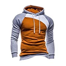 Legou Men without Zipper Splicing Nap Hoodies Sweatershirts