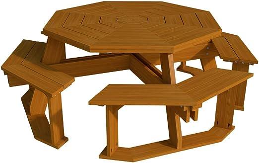 Amazon.com: Octagon Picnic Table Benches Plans DIY Outdoor ...