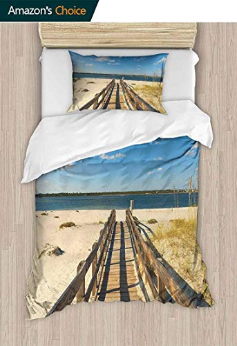 (Beach Full/Queen Size Quilt Bedding Set, Perdido Beach and Long Pier Deck Over Sand Gulf of Mexico South America Resort Theme, 2 Piece Bedding Quilt Coverlets,71 W x 79 L Inches, Cream Blue)