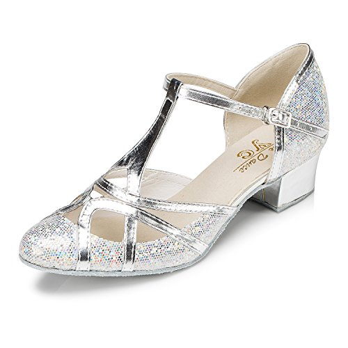 CRC Women's Round Toe T-Strap Silver PU Leather Glitter Material Ballroom Morden Tango Salsa Professional Dance Shoes 8.5 M US -