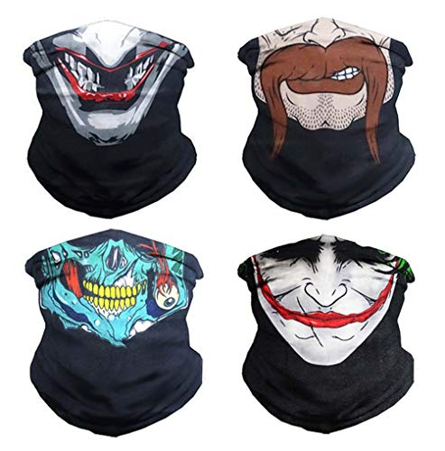 VCZUIUC Headband Skull Face Mask Clown Bandana Head Wrap Scarf Neck Warmer Headwear Balaclava for Sports (4 Skull Series-2)]()