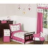 Pink Happy Owl Toddler 5 Piece Girl Bedding Set