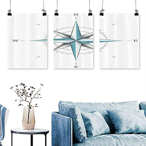 SCOCICI1588 3-Piece Modern Rose Diagram for Cardinal Directis Axis of The Earth Print On Canvas No Frame 12 INCH X 12 INCH X 3PCS