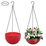 Yeawooh Hanging planter baskets, hanging pot with self-watering drainage indoor outdoor flowerpot garden balcony patio home decoration, set of 2 (Red)